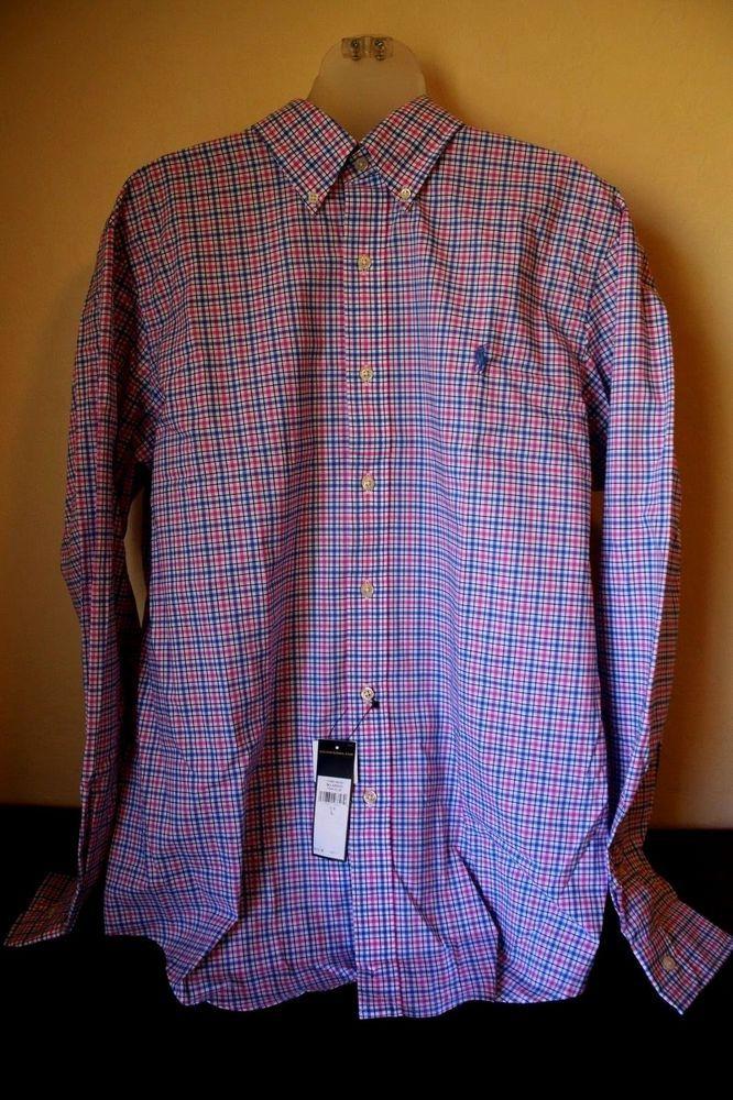 $125 NEW Polo Ralph Lauren 16 L Dress Shirt Check Blue Button Front Pony Plaid