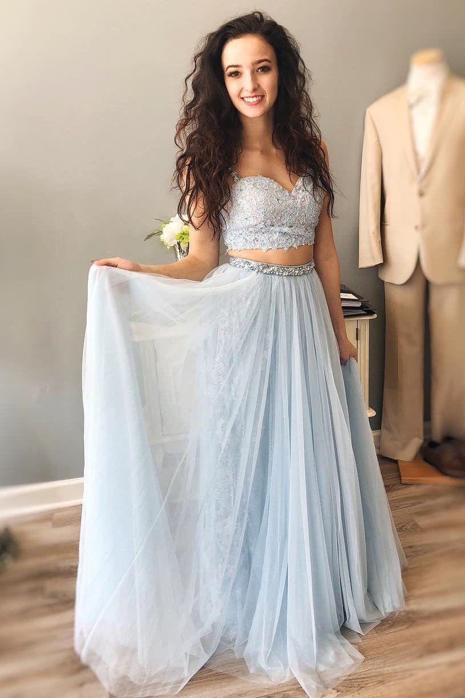 Sky blue prom dresstwo piece prom dresslace prom dresslong prom
