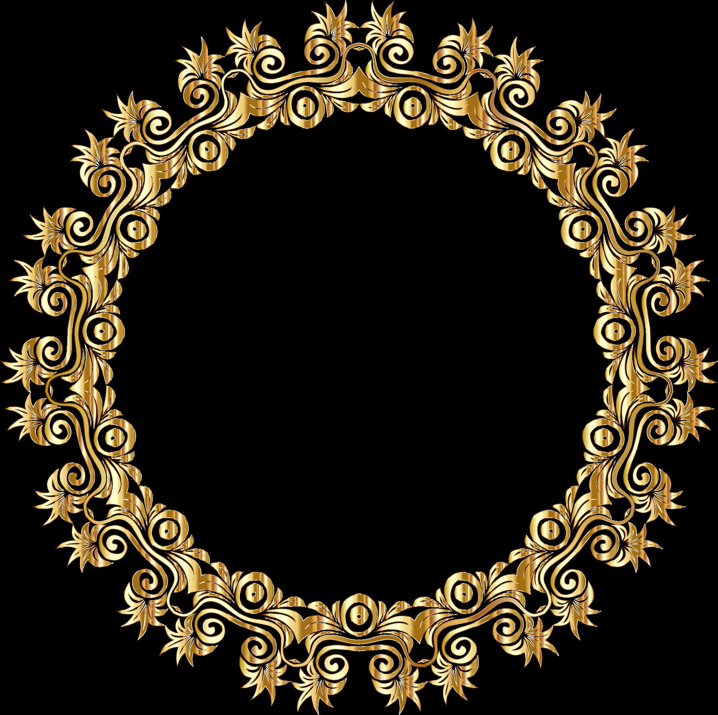 Gold Floral Flourish Motif Frame No Background Png 2344 2335 Gold Gold Frame Clip Art Borders
