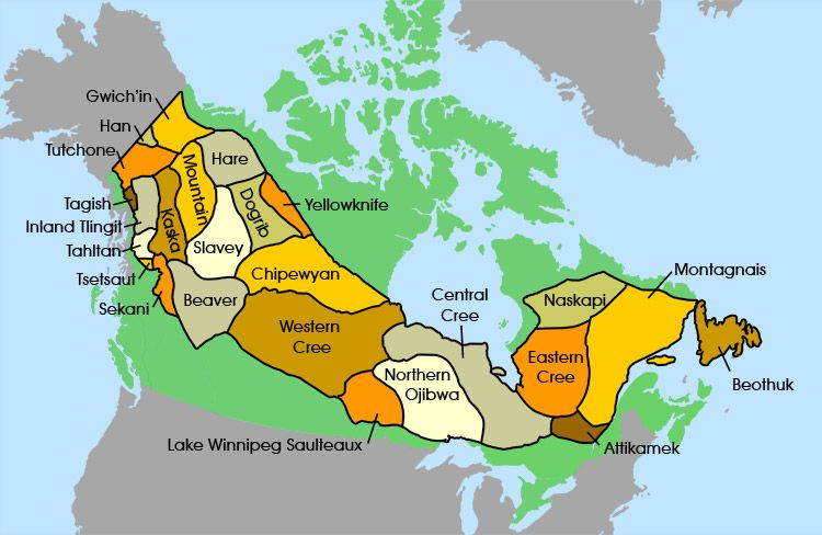 Map Of First Nations Groups In Canada The Subarctic People   Groups in this Region | Canadian history