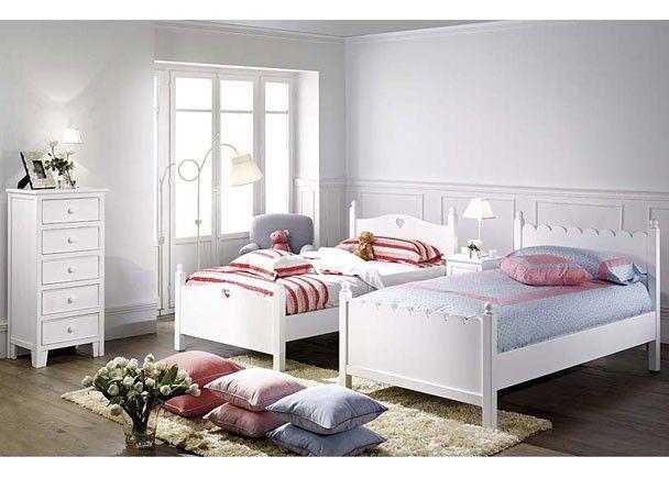 2 camas sinfonier y mesitas lacados blanco mobiliario - Habitaciones infantiles en blanco ...