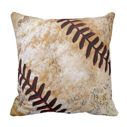 Vintage Baseball Decor for Guys, Vintage Baseball Throw Pillow ...