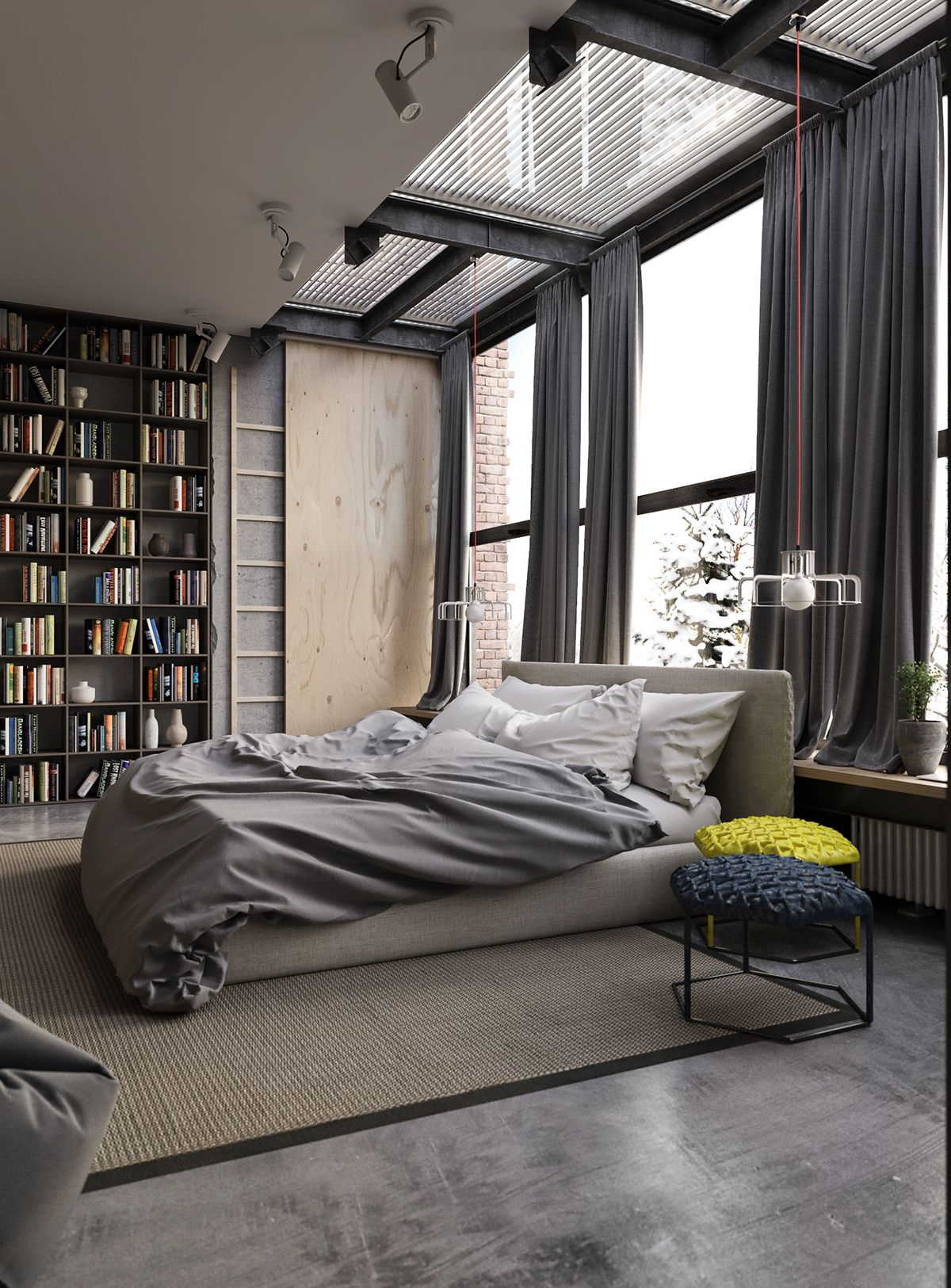 industrial style apartment in kiev | schlafzimmer design