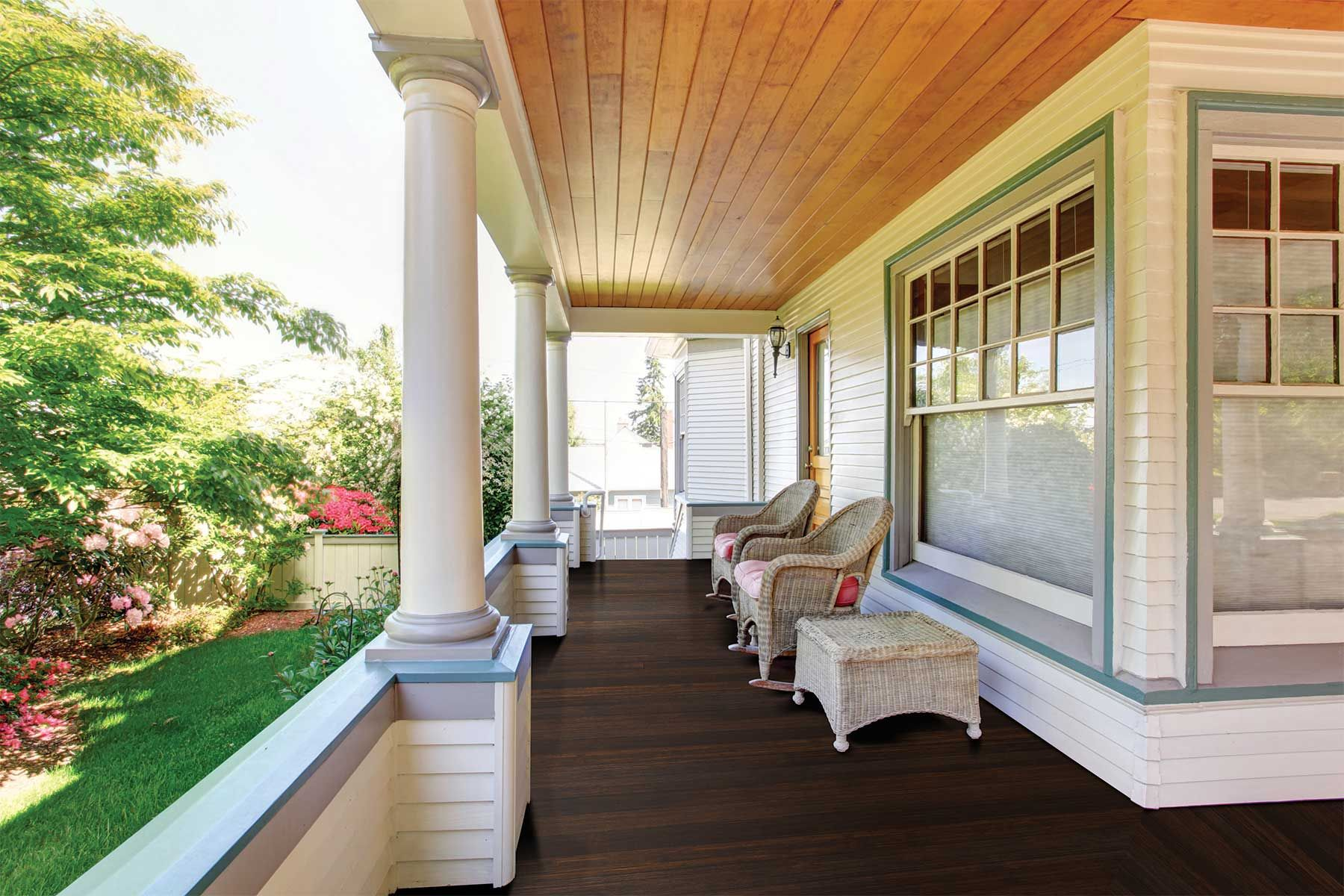 Classic Espresso 1x4 Porch Flooring T G Fused Bamboo Also For Interior Floors Craftsman Style Home Craftsman Porch Porch Flooring
