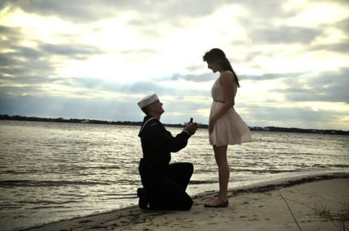 """""""He told me I was doing a photo shoot of him and to send some pictures to his mother back home, and he wanted to be in his uniform and me looking nice in a dress. And then when i set the timer and ran over to stand beside him, he got down on one knee and asked me to be his wife."""""""