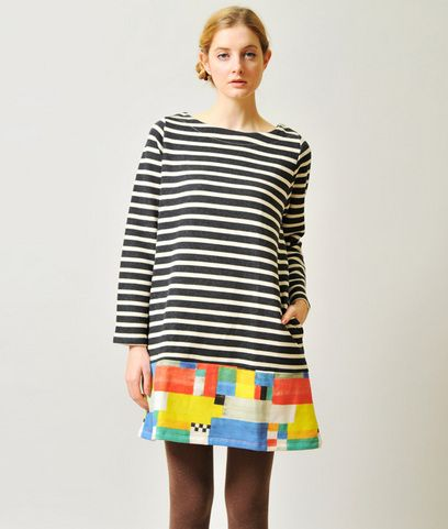 One-Piece/Dress Border Long Sleeve Sweat One-Piece(Watercolor Painting 01)