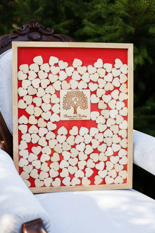 Individuelles Hochzeits Gastebuch Als Bilderrahmen Mit 3d Herzen