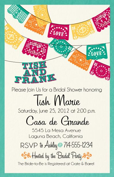 Fiesta Bridal Shower Invitation [DI-1506] : Custom Invitations and ...