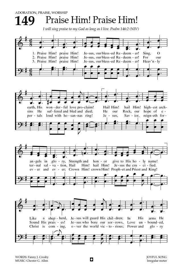 Lyric blessed redeemer lyrics : Baptist Hymnal 2008 149. Praise Him! praise Him! Jesus, our ...