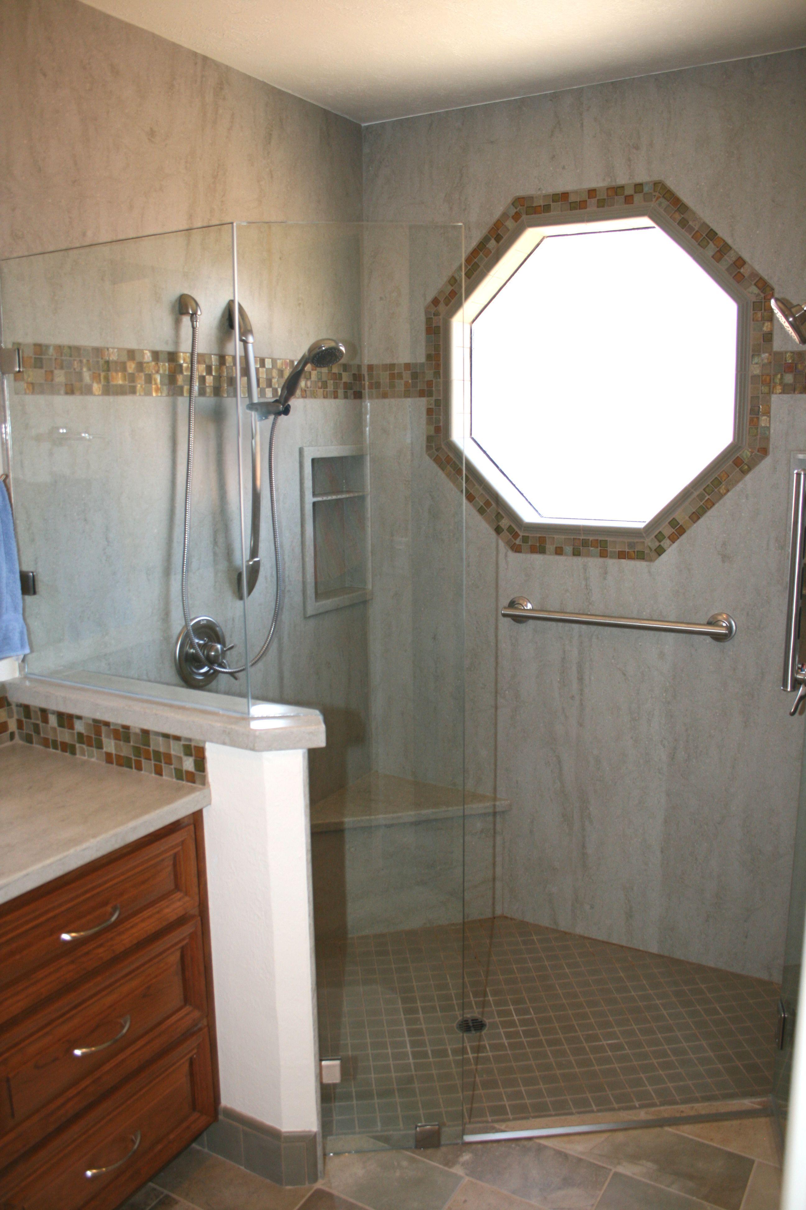Corian Sagebrush Shower Surround With Tile Insert Stripe And Around