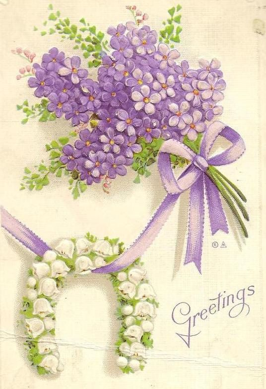Purple Lilacs and Lily of the Valley Horseshoe