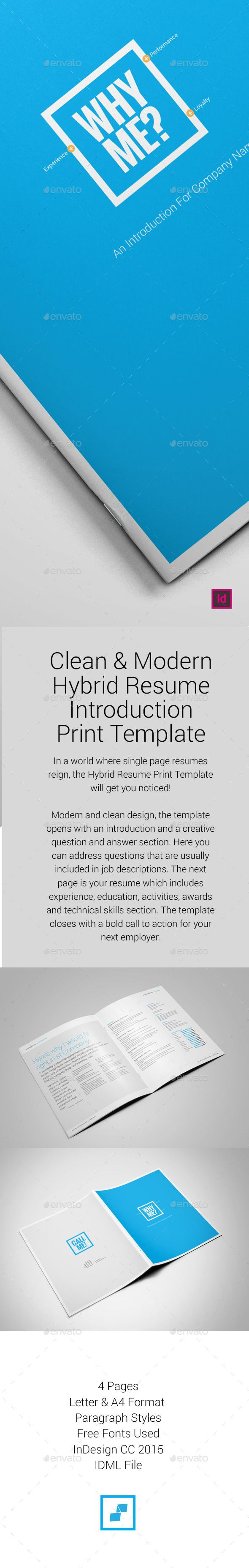 Hybrid Resume Print Template Resumes Stationery