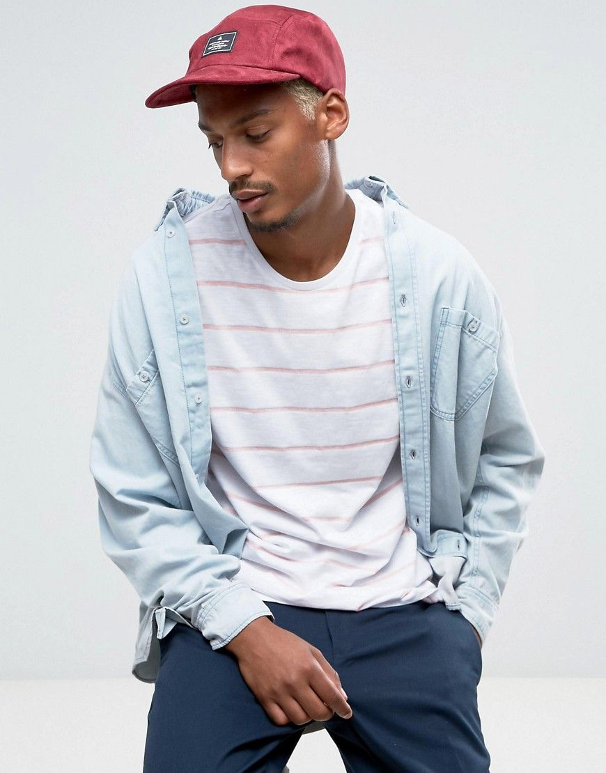 e4ef3ebbf8997 ASOS 5 Panel Cap in Burgundy Faux Suede - Red