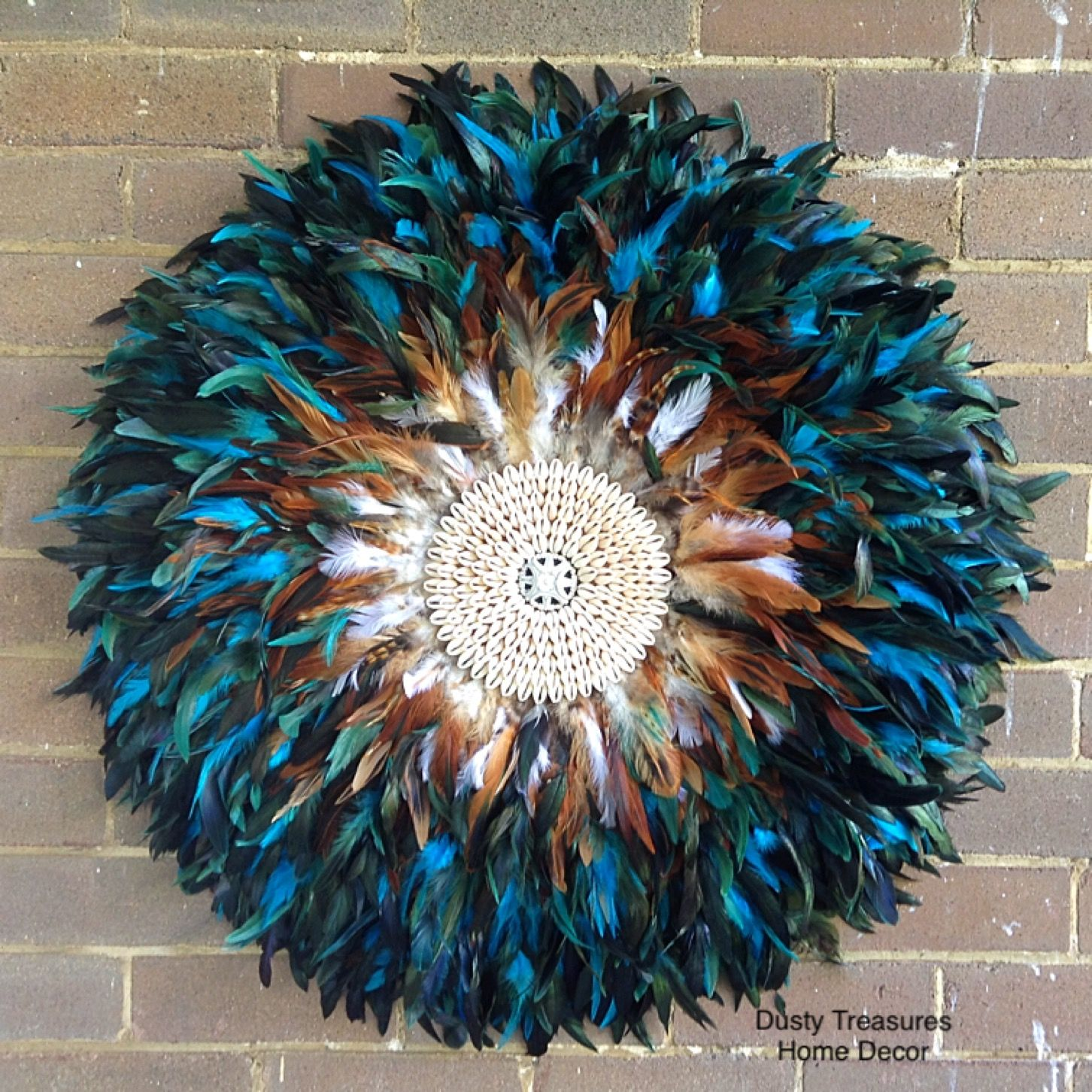 Aqua Blue Juju Hat Feathers Wall Art Decoration Designed