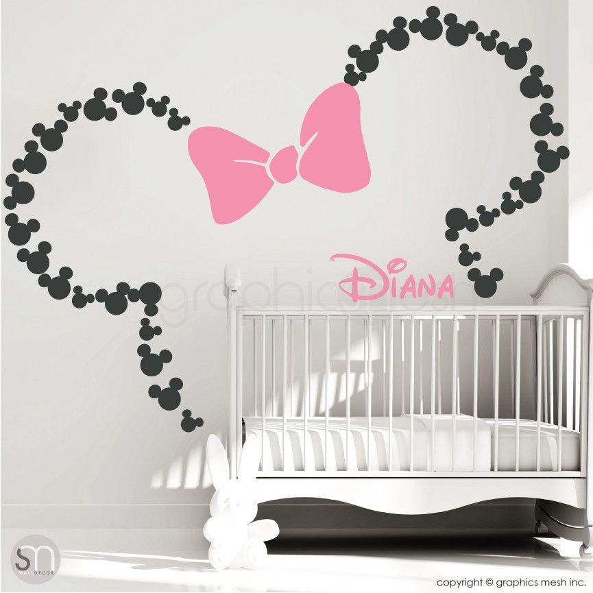 Mickey Mouse Inspired Ears With Bow PERSONALIZED BABY NAME - Minnie mouse wall decals