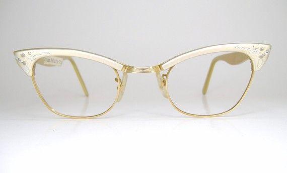 vintage 50s schiaparelli champagne cat eye eyeglasses frame nos never worn 12k gf