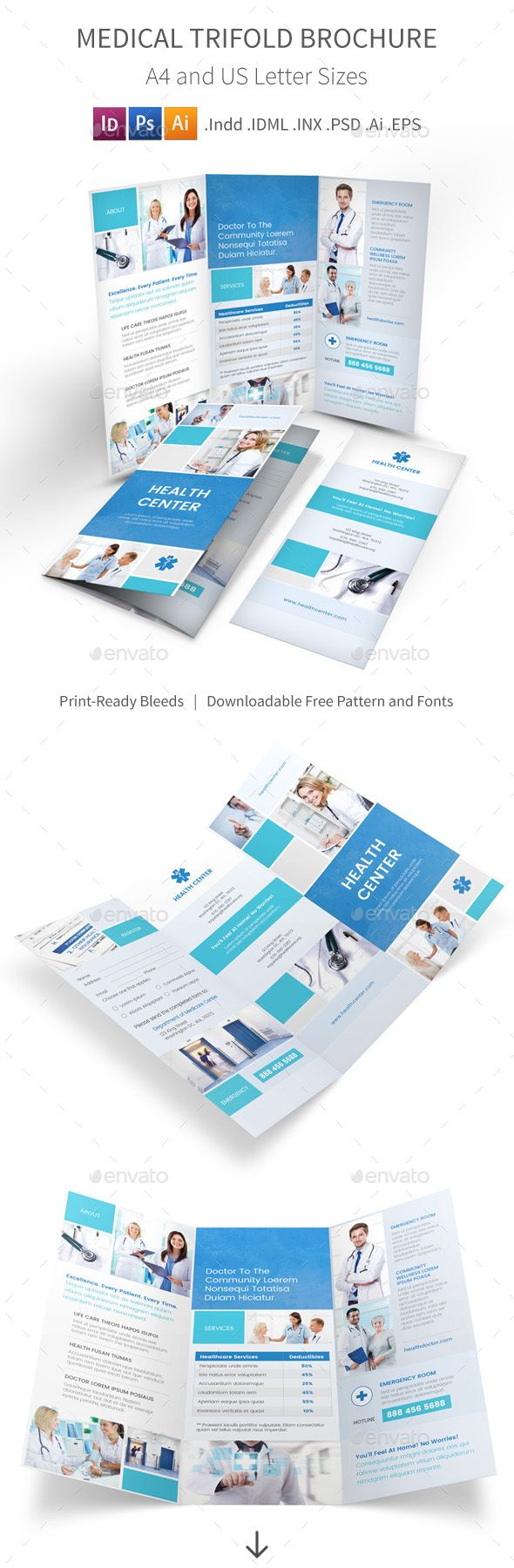 Medical Trifold Brochure 5 | Ai illustrator, Brochure template and ...
