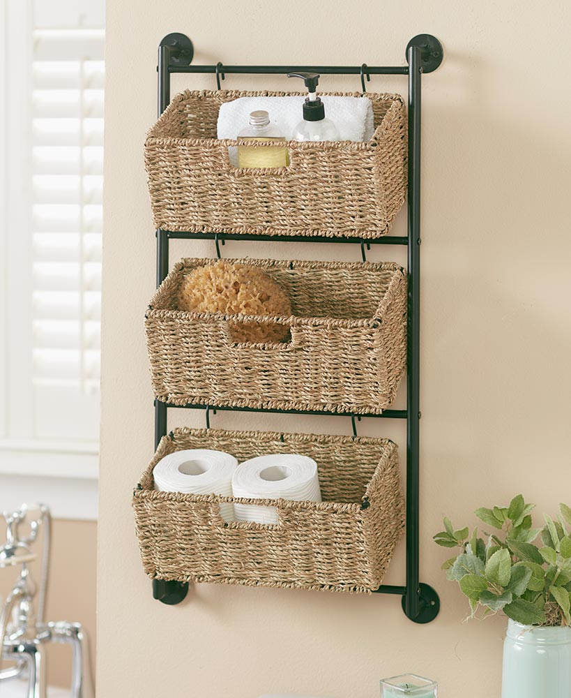 Hanging Seagrass Wall Baskets In 2020 Baskets On Wall Wall Basket Storage Wall Hanging Storage