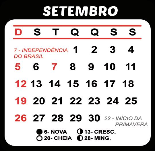 Calendário Setembro 2021 Feriados e Fases da Lua | Imagem