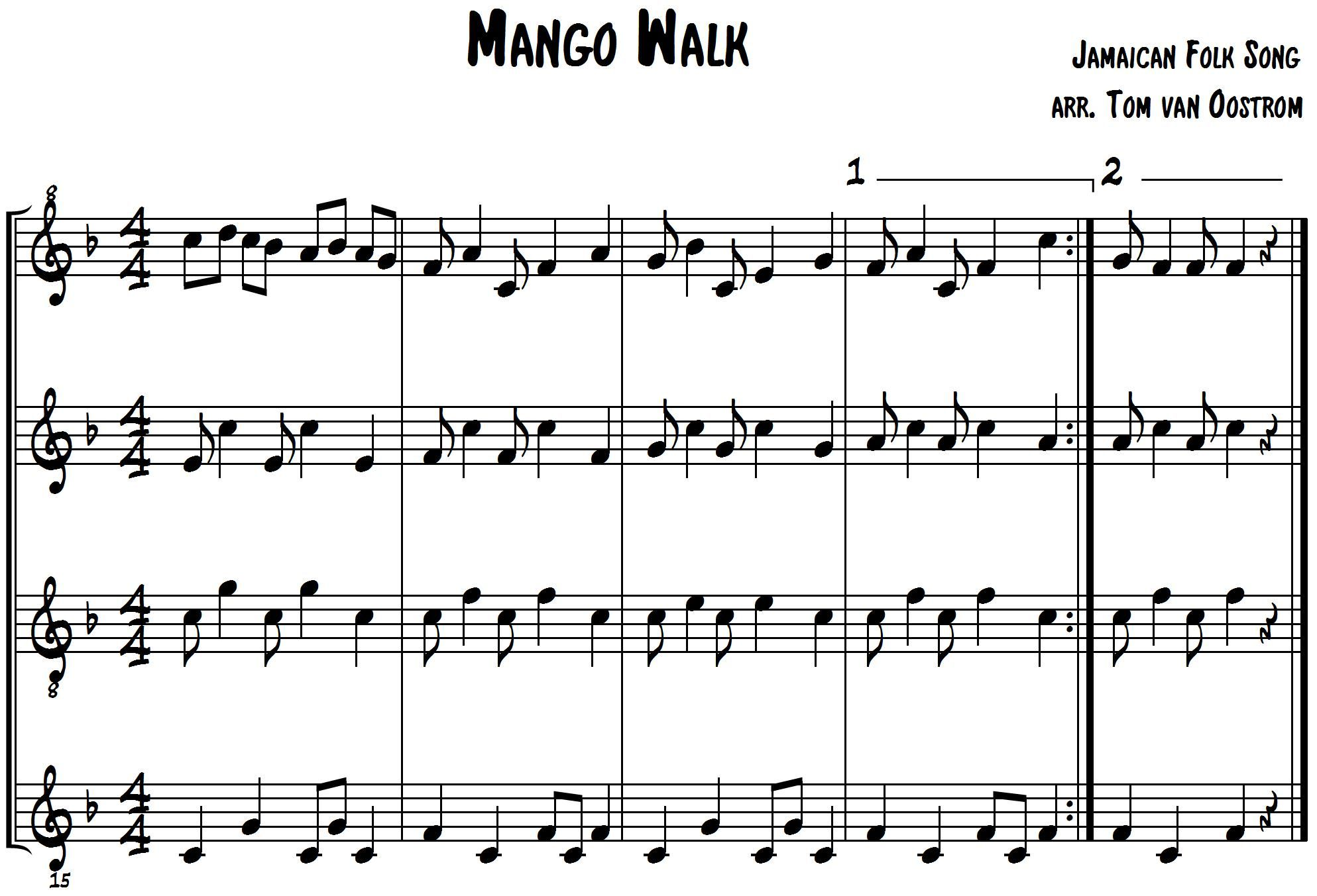 Mango Walk For Marimba Band