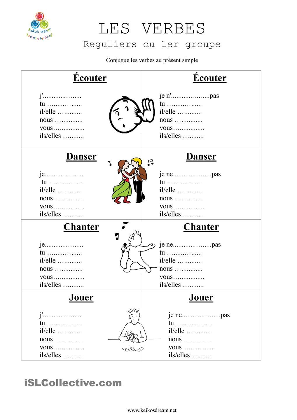 verbes reguliers du 1er premier groupe learning french french verbs and french worksheets. Black Bedroom Furniture Sets. Home Design Ideas