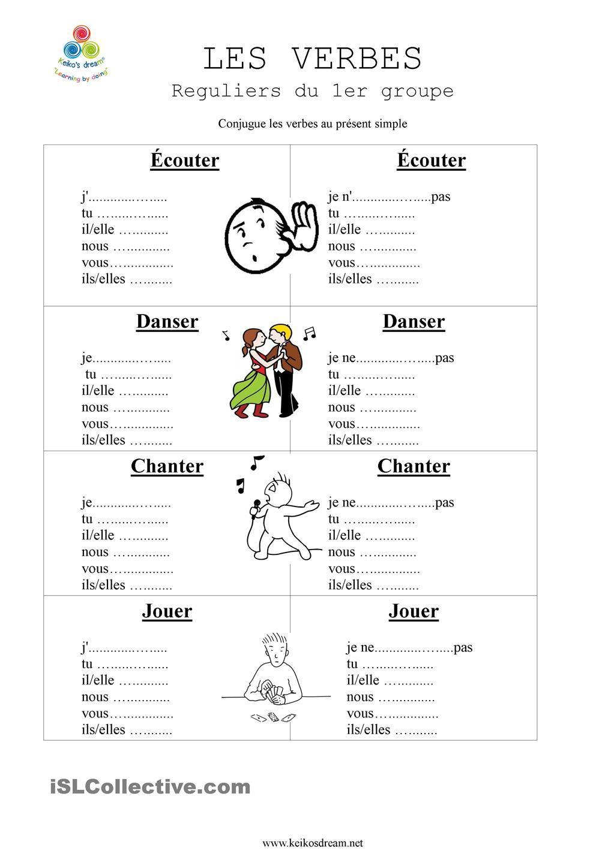 Verbes Reguliers Du 1er Premier Groupe Exercice Verbe Exercices Conjugaison Professeur De Francais