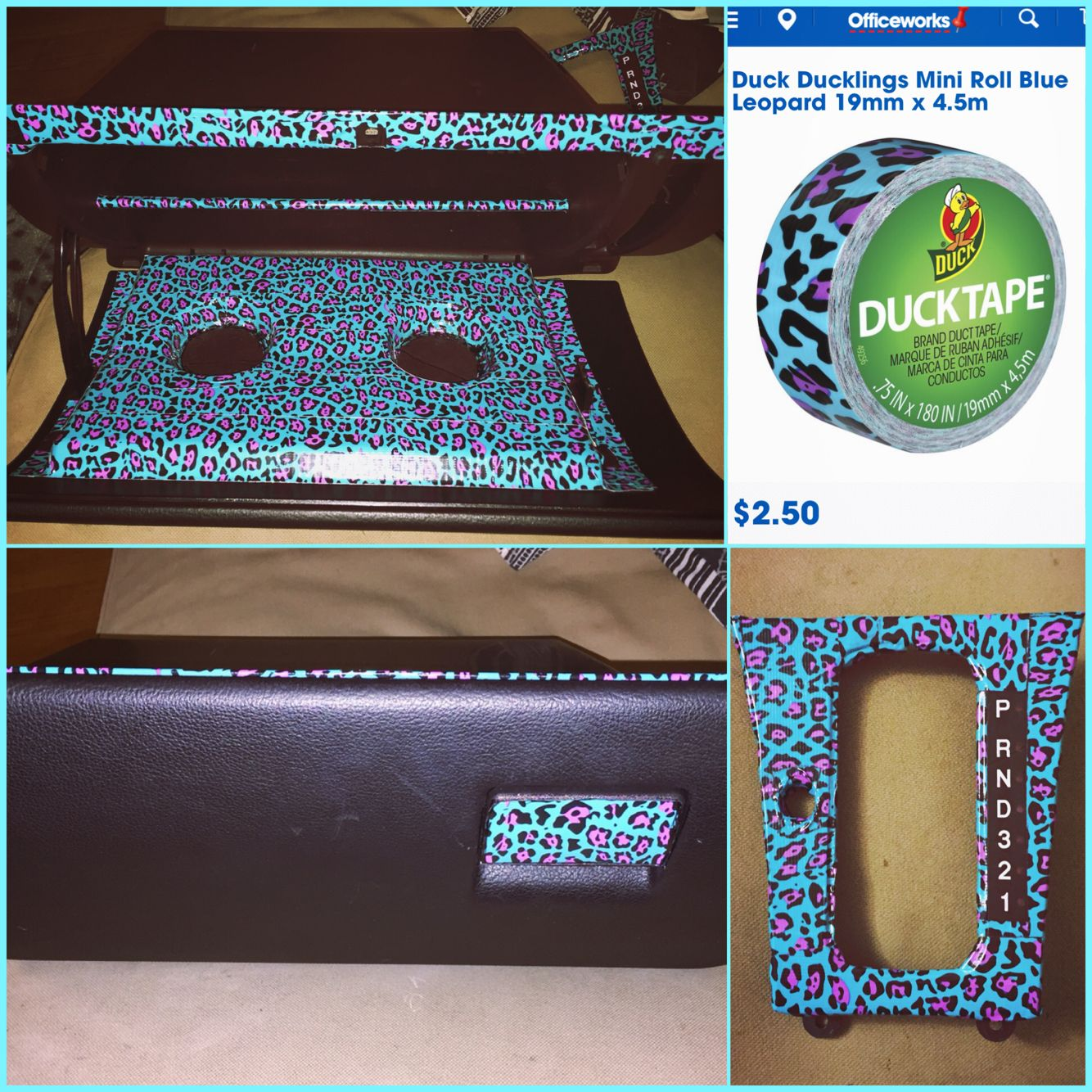 Car interior necessities - Diy Car Interior Decor Leopard Cheetah Print Duct Tape