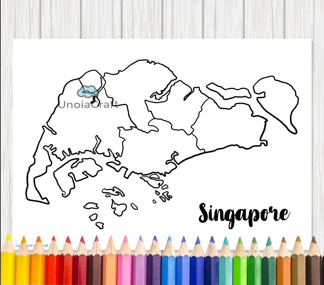 Singapore Modern Map Colouring Adult Coloring Sheet Asia Map Pdf