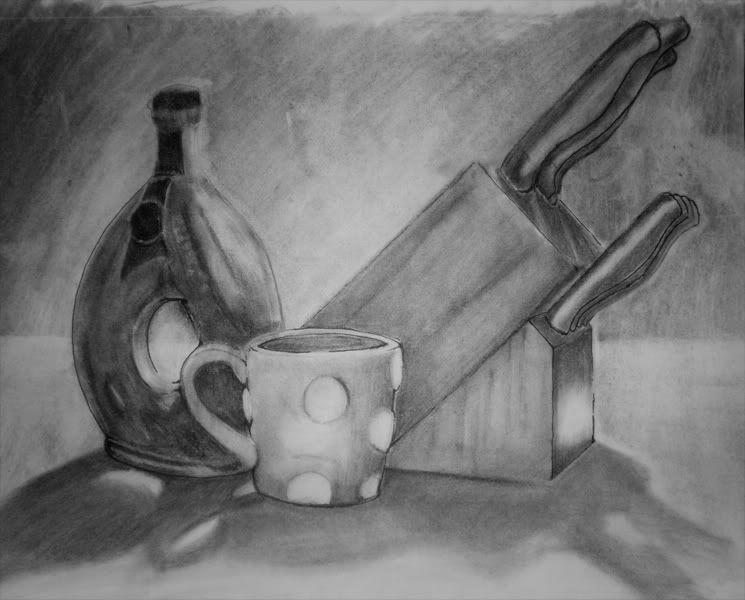 Still life kitchen drawing