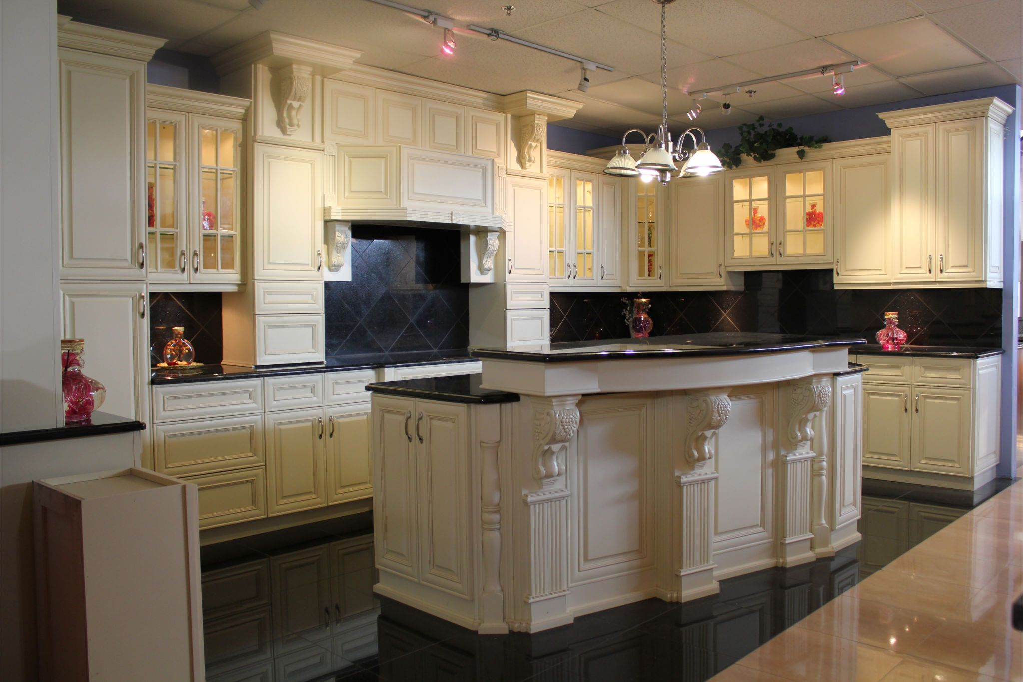 Antique White Kitchen Designs Antique White Cabinets With Black Granite Tops As Island