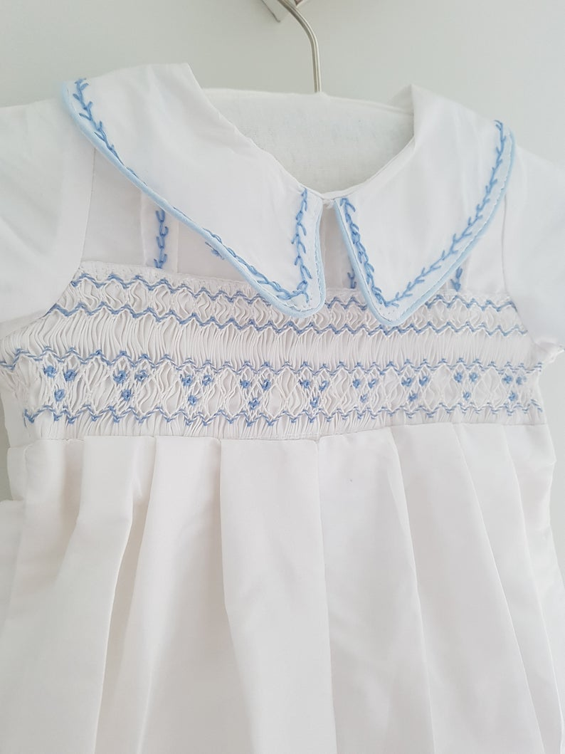 Beautiful Pure White Christening/Baptism Hand Smocked Baby Boys Romper #purewhite