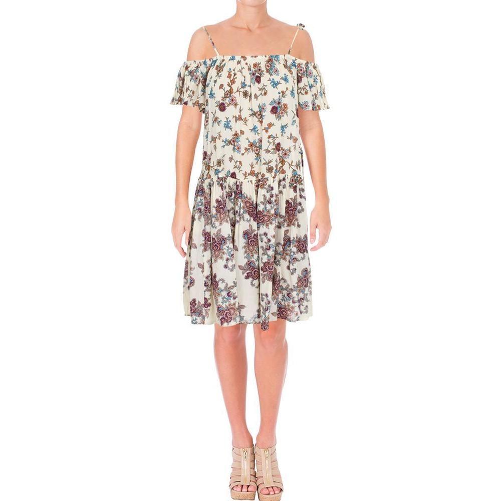938943a0af3 Aqua Womens Ivory Crinkled Cold Shoulder Garden Party Mini Dress S BHFO  6603 #fashion #