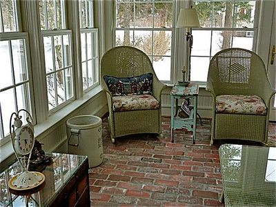 Back Of House Sun Room: Brick Flooring Is Also Popular In Rustic Setting  That Focus On The Natural World, Such As Sunrooms, Sitting Rooms, And  Indoor And ...
