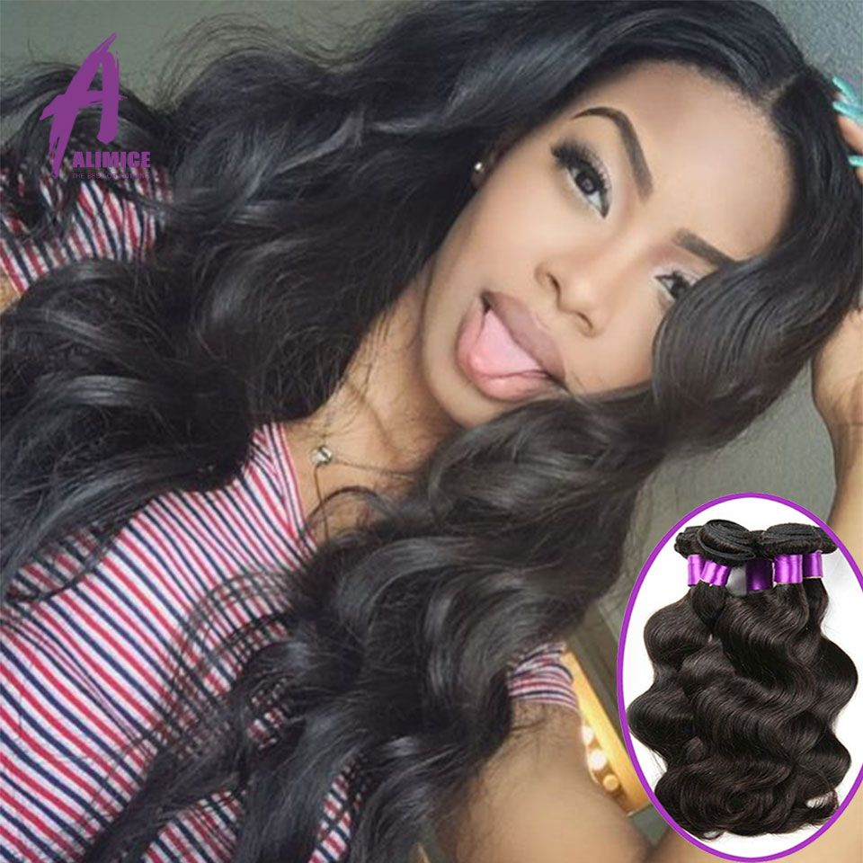 Alimice Style Raw Indian Virgin Remy Hair Weave Natural Body Wave 4