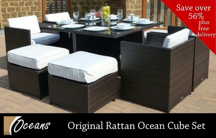 Our Versatile 4 8 Seater Original Rattan Ocean Cube Set Is The Height Of Fashion And Practicality Outdoor Furniture Sets Rattan Garden Furniture The Originals