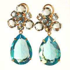 beautiful blue topaz + green amethyst. Earrings
