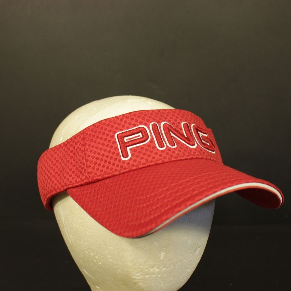 55f57c2ef0e34 Ping Golf Hat Cap Visor Strapback Red Adjustable One Size  Ping  Visor