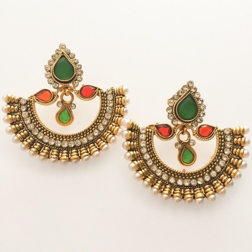 Match your traditional saree or lehenga with this gorgeous Riya Red and  Green #Earrings from