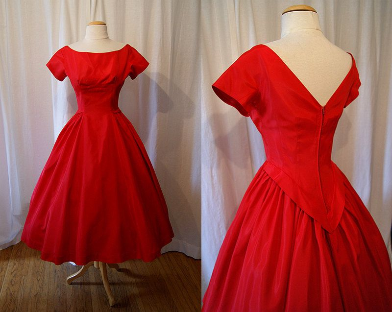 Chic 1950s Red Taffeta New Look Party Dress Pin Up Girl Formal Vlv