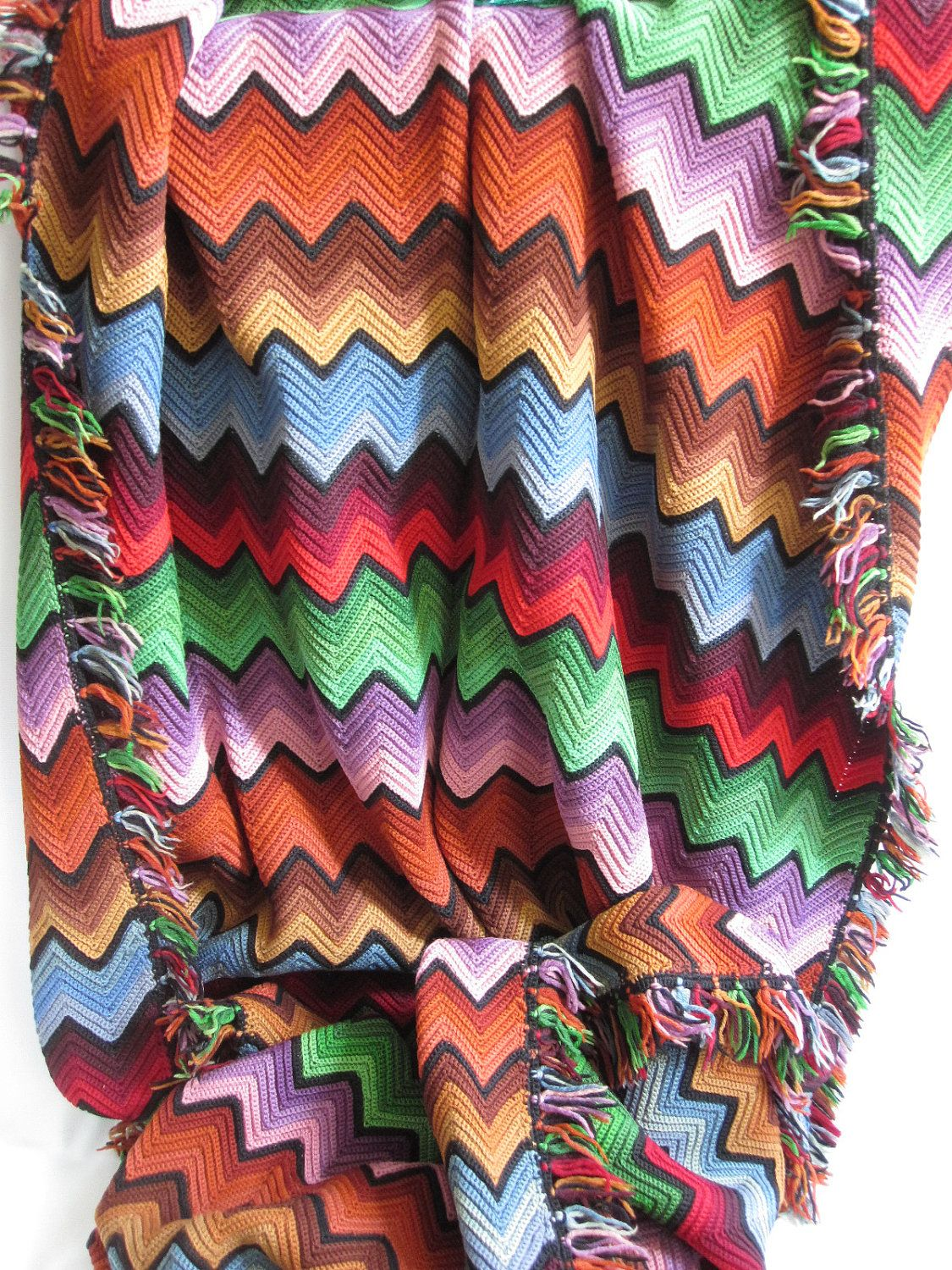 Colorful Vintage Crochet Blanket | CROCHET | Pinterest | Manta ...