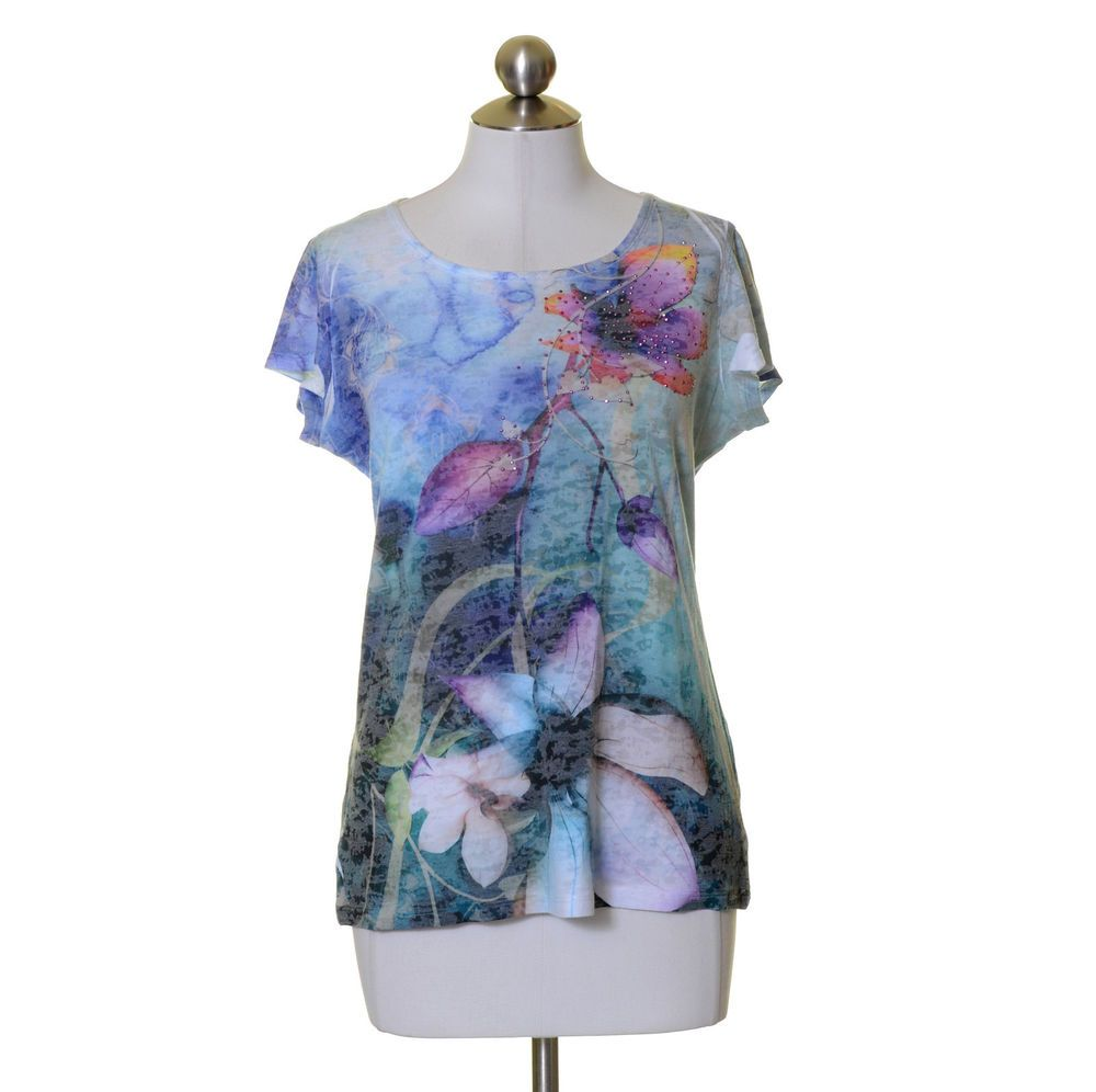 NY Collection Blue Purple Pink Floral Print Artsy Top Size M Scoop Neck #NYCollection #KnitTop #Casual