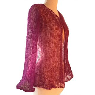 7433746196bc83 Diaphanous Mohair Cardigan by Becky Pursell The lace weight mohair worked  on large needles provides just