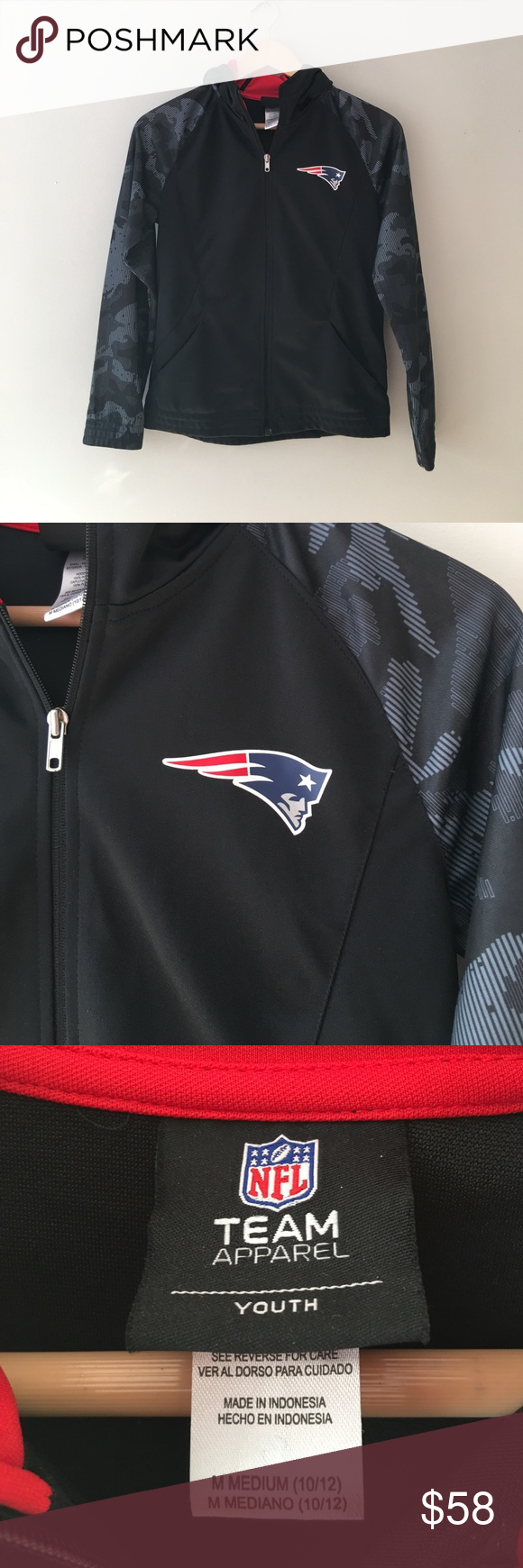 Nfl New England Patriots Cami Sleeve Zip Hoodie Nwot Rare New England Patriots Camo Sleeve Zip Front Hoodie By The Nfl Team Apparel Nfl Shirts Team Apparel Nfl Team Apparel