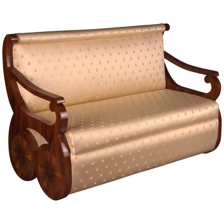 Kanapee Sofa white canapé sofa in viennese biedermeier style rosewood veneer on