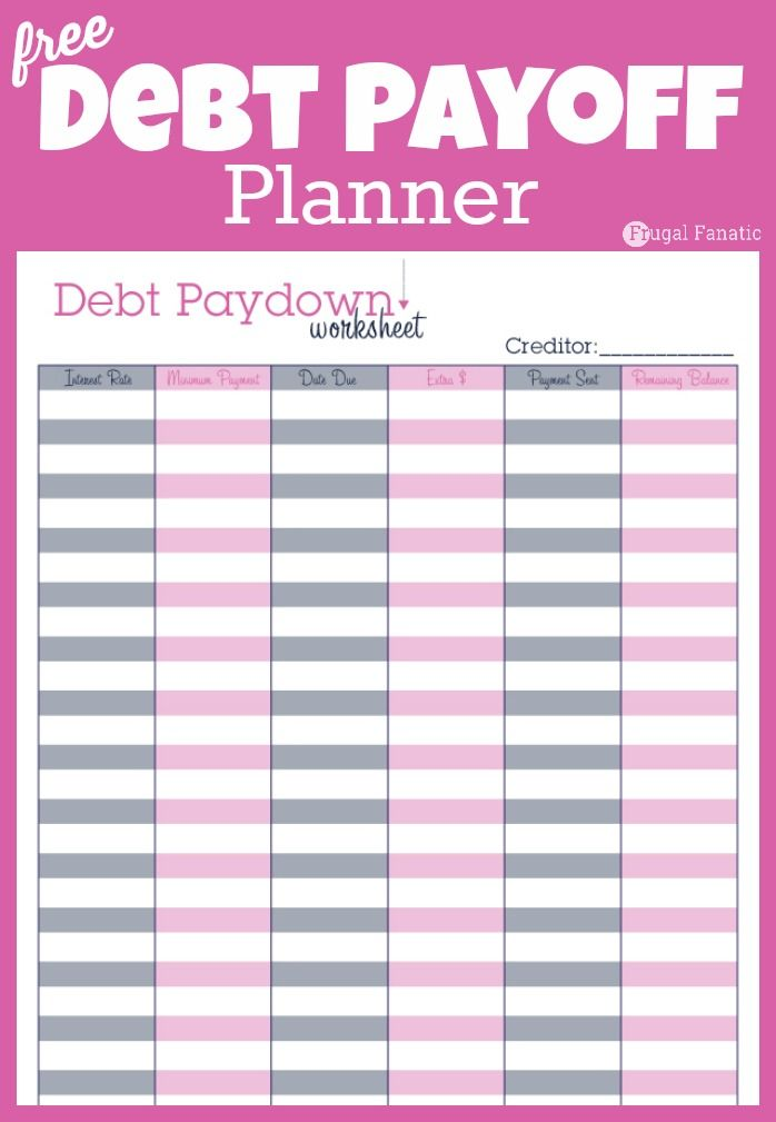Debt Payoff Planner Free Printable Monthly Budget