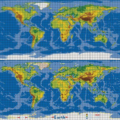 Dirks LEGO World Map 30 Marble Versus Pixel Grid