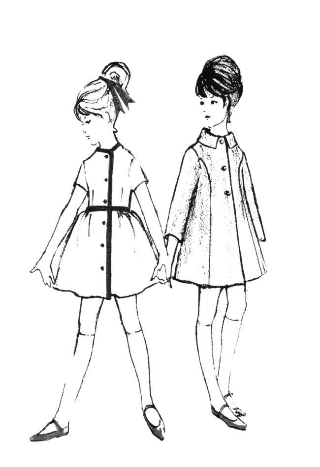 line drawing illustration | Children's clothes had much ...