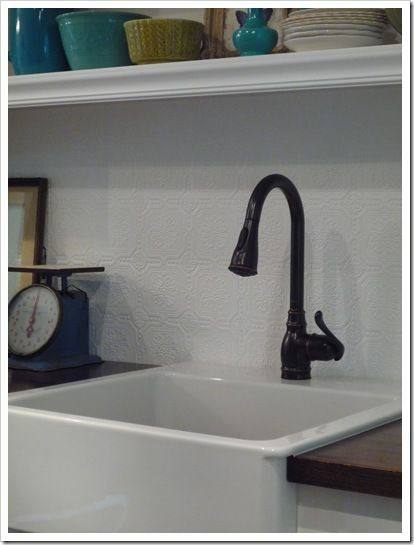 Ikea Farmhouse Sink Moen Oil Rubbed Bronze Faucet Stained Unfinished Oak Countertops From Backsplash Is Textured Paintable Wallpaper