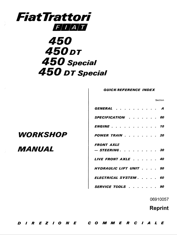 Fiat 450 450dt Tractor Workshop Service Manual In 2021 Tractors Fiat Manual