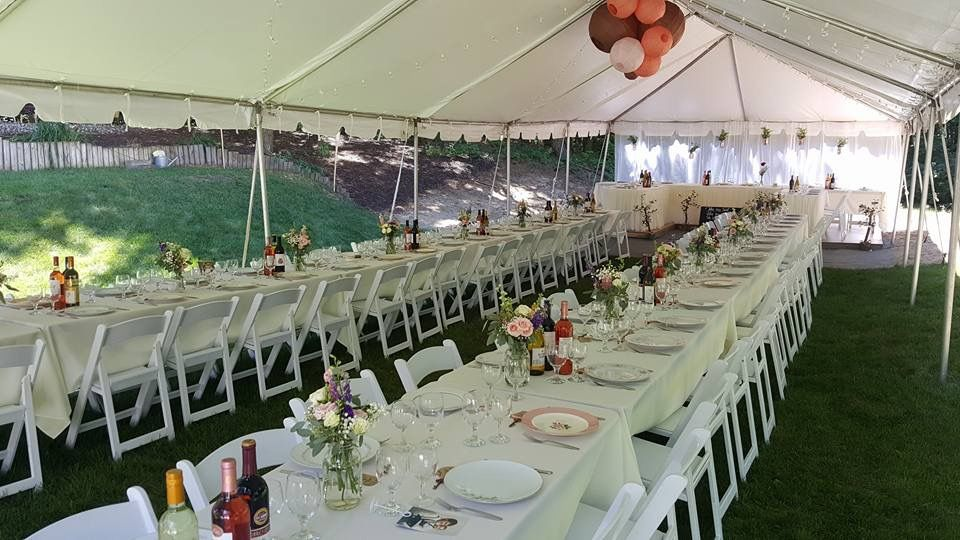 Tent, tables, chairs, and lighting rentals for a beautiful ...